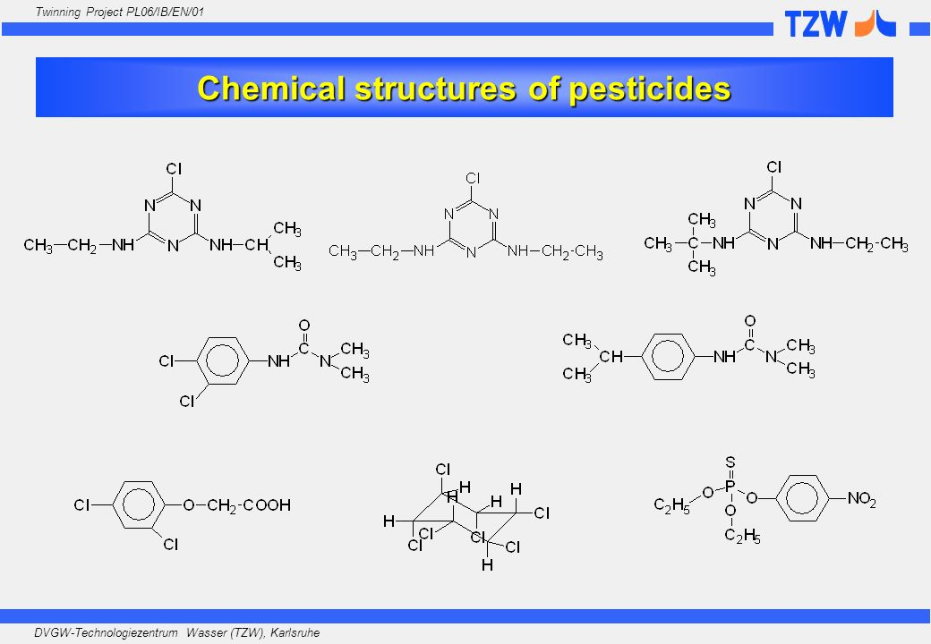 Chemical structures of pesticides