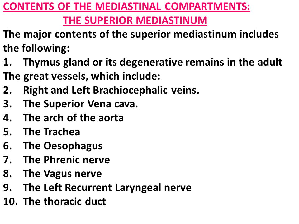 CONTENTS OF THE MEDIASTINAL COMPARTMENTS: