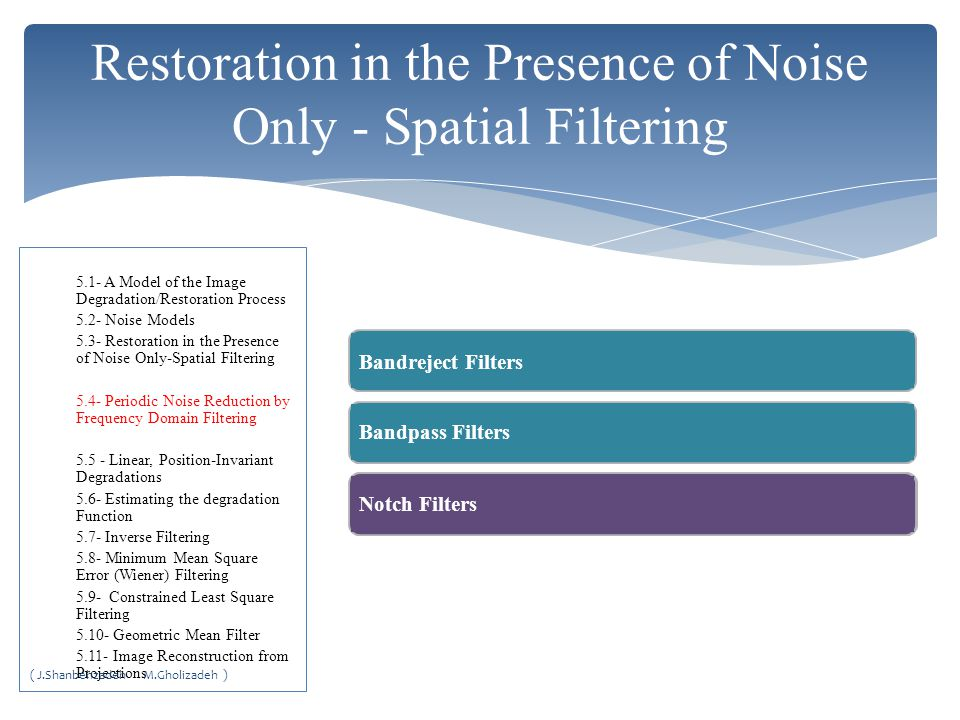 Restoration in the Presence of Noise Only - Spatial Filtering
