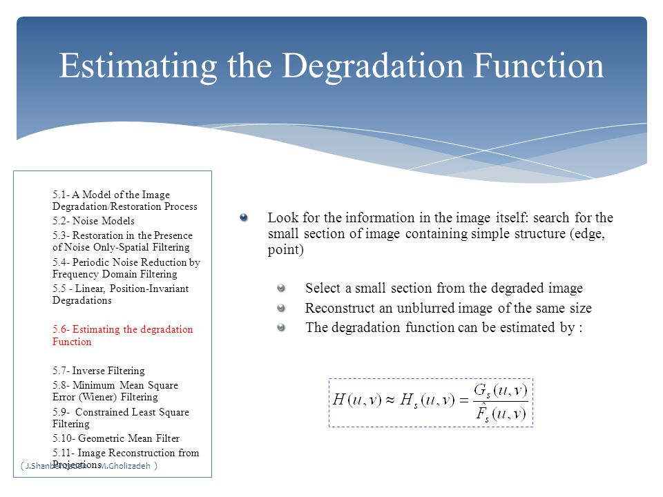 Estimating the Degradation Function