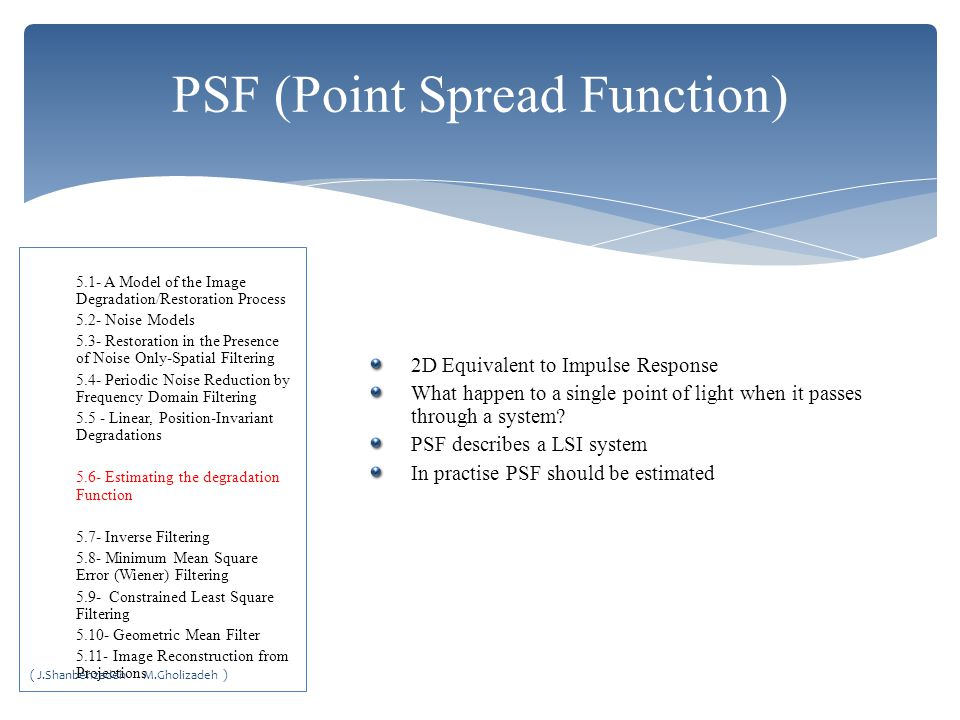 PSF (Point Spread Function)