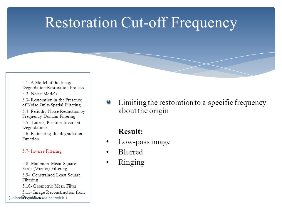 Restoration Cut-off Frequency