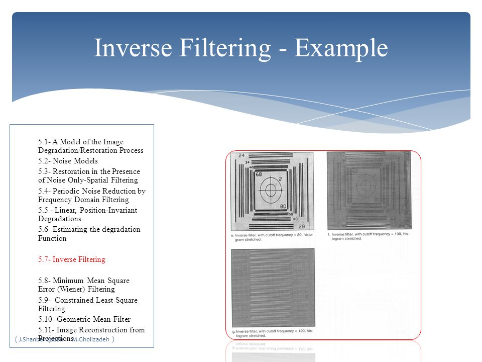 Inverse Filtering - Example