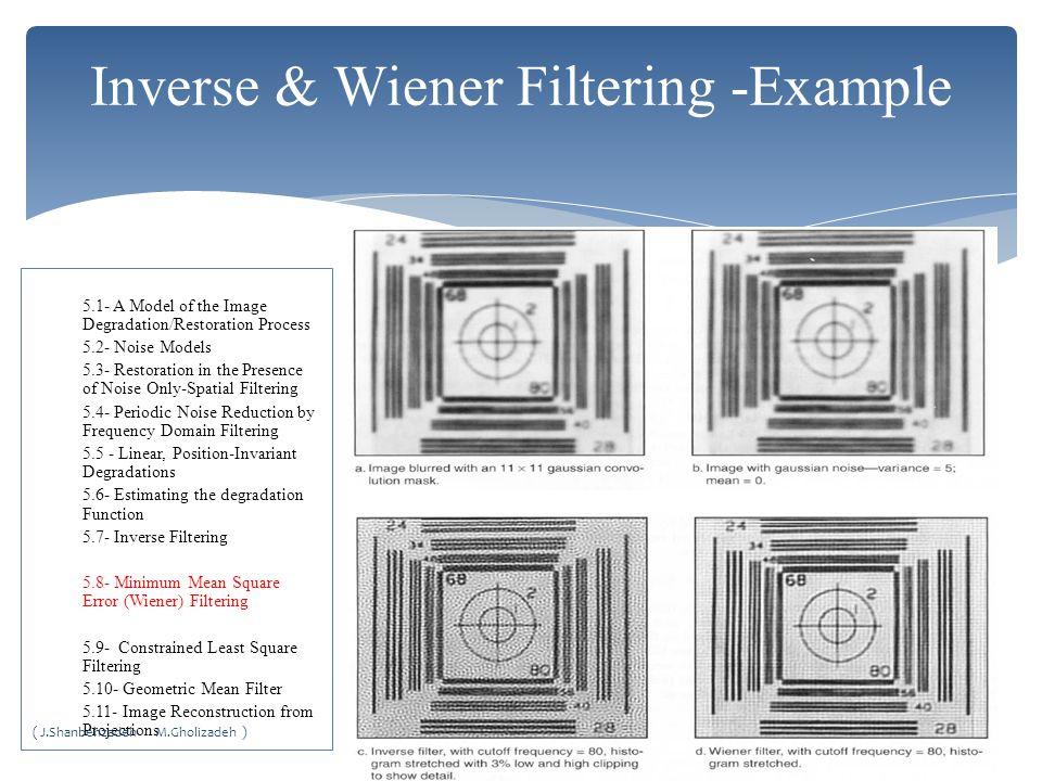 Inverse & Wiener Filtering -Example