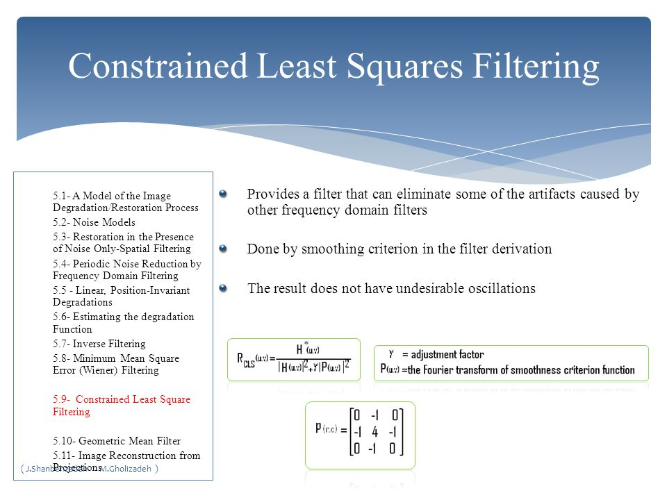 Constrained Least Squares Filtering