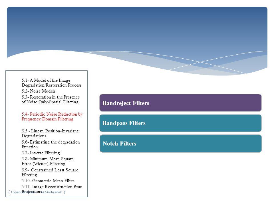 Bandreject Filters Bandreject Filters Bandpass Filters Notch Filters