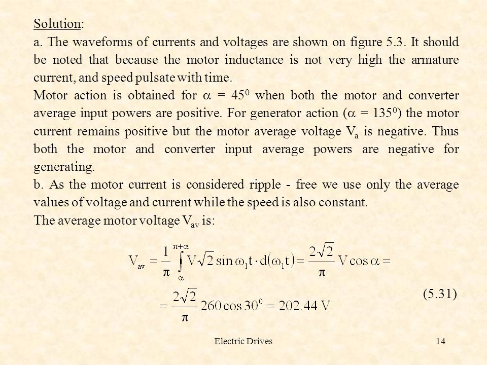 The average motor voltage Vav is: