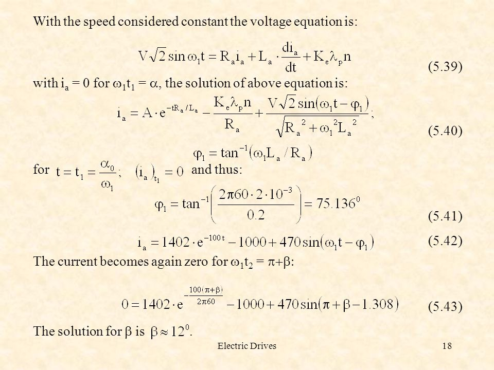 With the speed considered constant the voltage equation is: