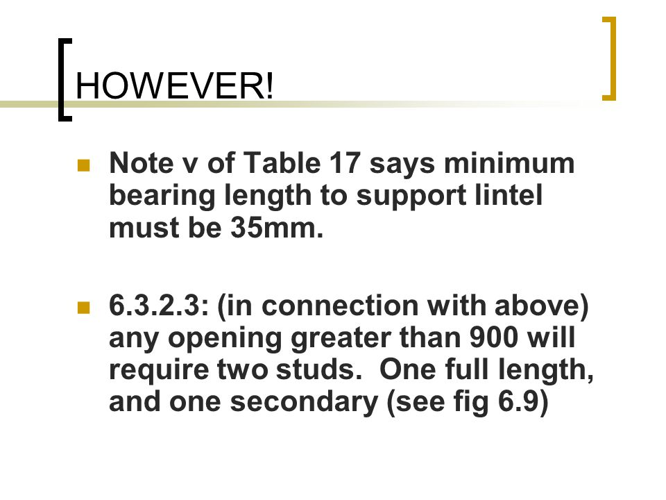 HOWEVER! Note v of Table 17 says minimum bearing length to support lintel must be 35mm.