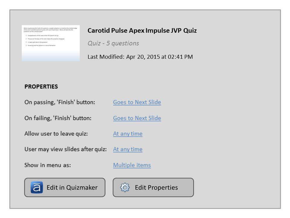 Carotid Pulse Apex Impulse JVP Quiz
