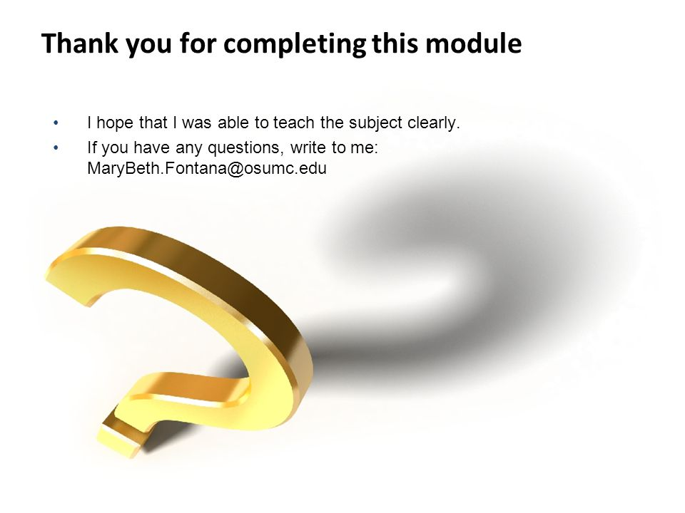 Thank you for completing this module