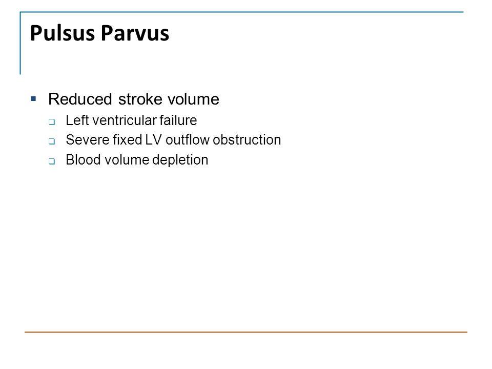 Pulsus Parvus Reduced stroke volume Left ventricular failure