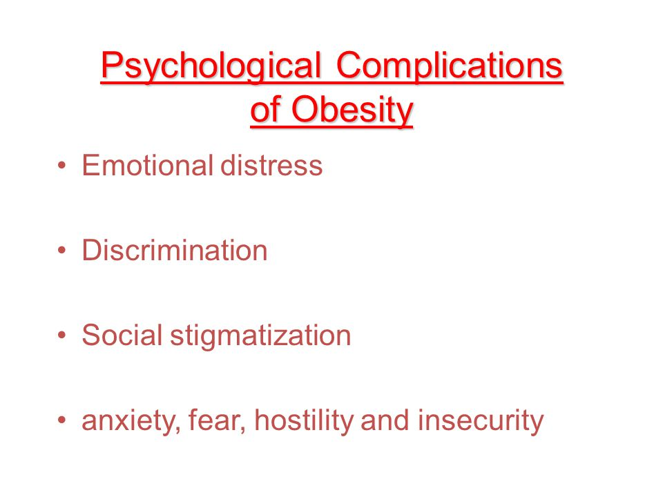 Psychological Complications of Obesity