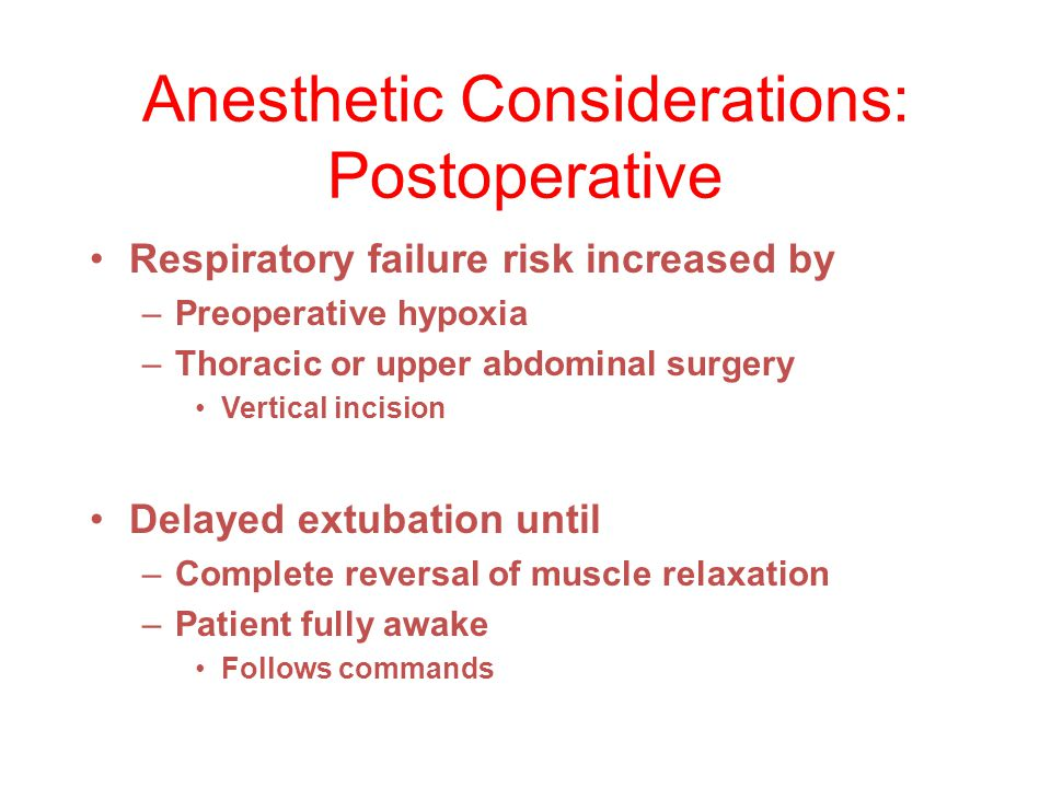 Anesthetic Considerations: Postoperative