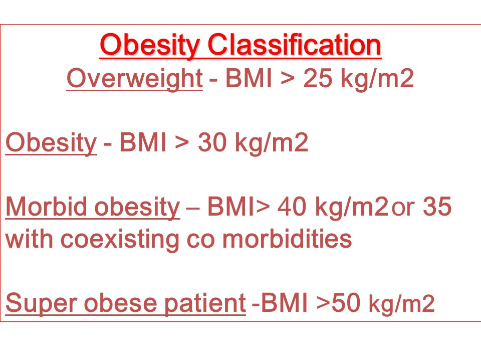 Obesity Classification Overweight - BMI > 25 kg/m2