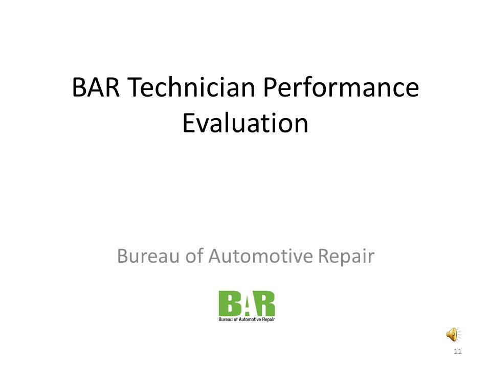 BAR Technician Performance Evaluation