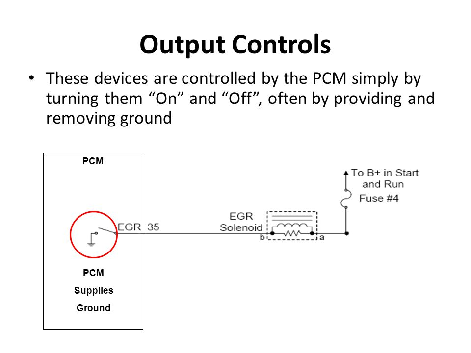 Output Controls These devices are controlled by the PCM simply by turning them On and Off , often by providing and removing ground.