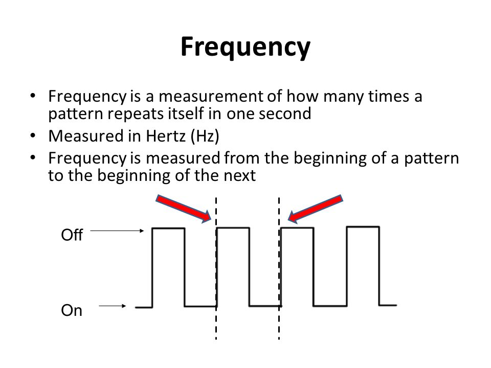 Frequency Frequency is a measurement of how many times a pattern repeats itself in one second. Measured in Hertz (Hz)