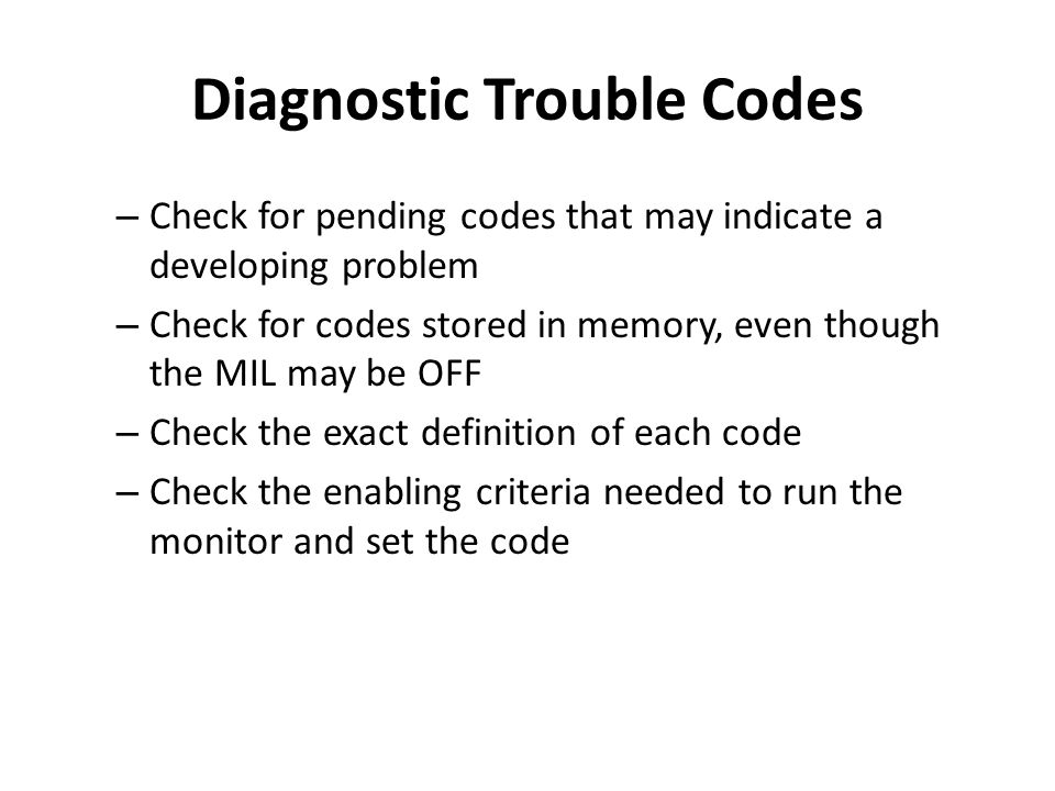 Diagnostic Trouble Codes