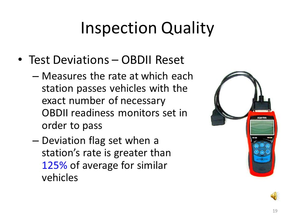 Inspection Quality Test Deviations – OBDII Reset