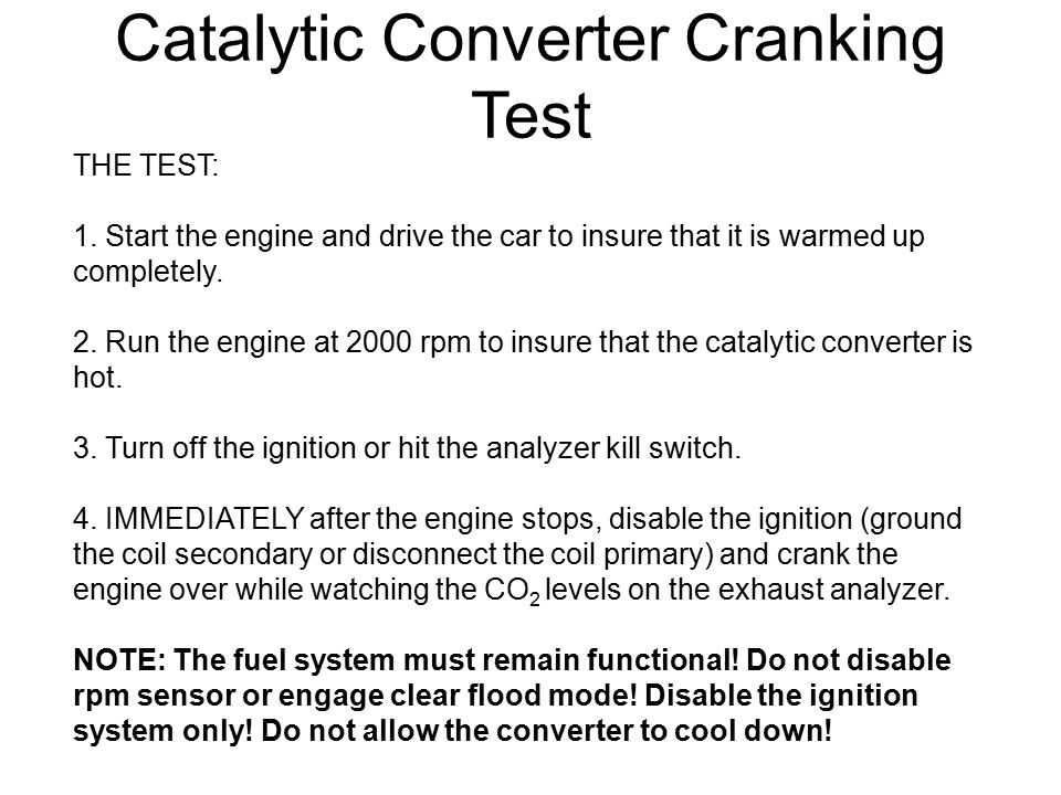 Catalytic Converter Cranking Test