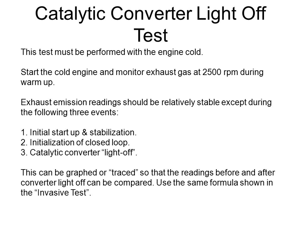 Catalytic Converter Light Off Test