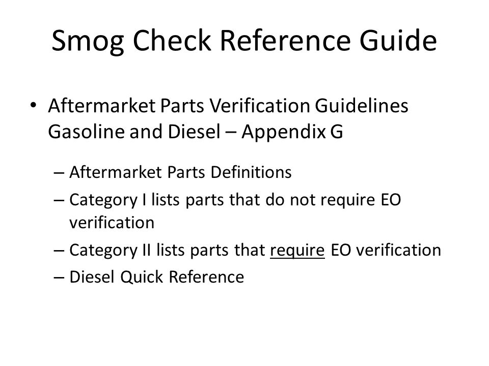 Smog Check Reference Guide