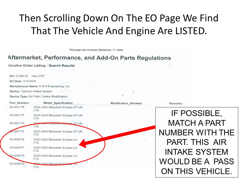 Then Scrolling Down On The EO Page We Find That The Vehicle And Engine Are LISTED.