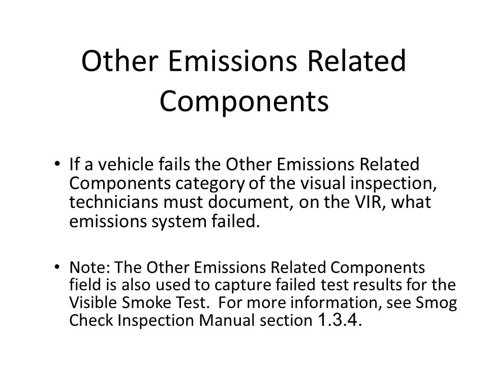 Other Emissions Related Components