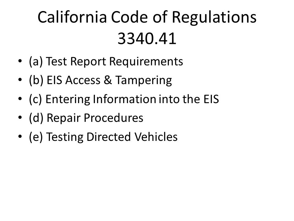 California Code of Regulations 3340.41