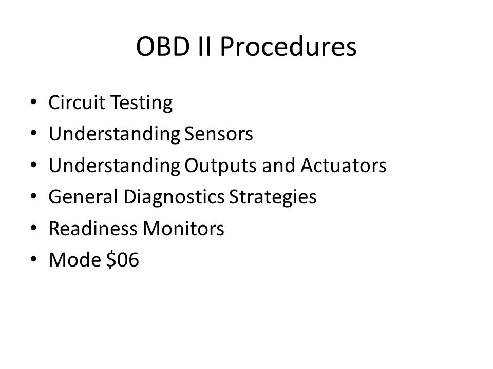 OBD II Procedures Circuit Testing Understanding Sensors