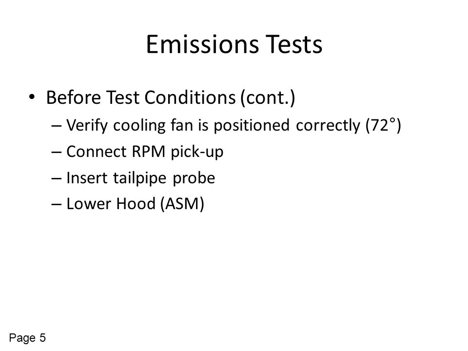 Emissions Tests Before Test Conditions (cont.)