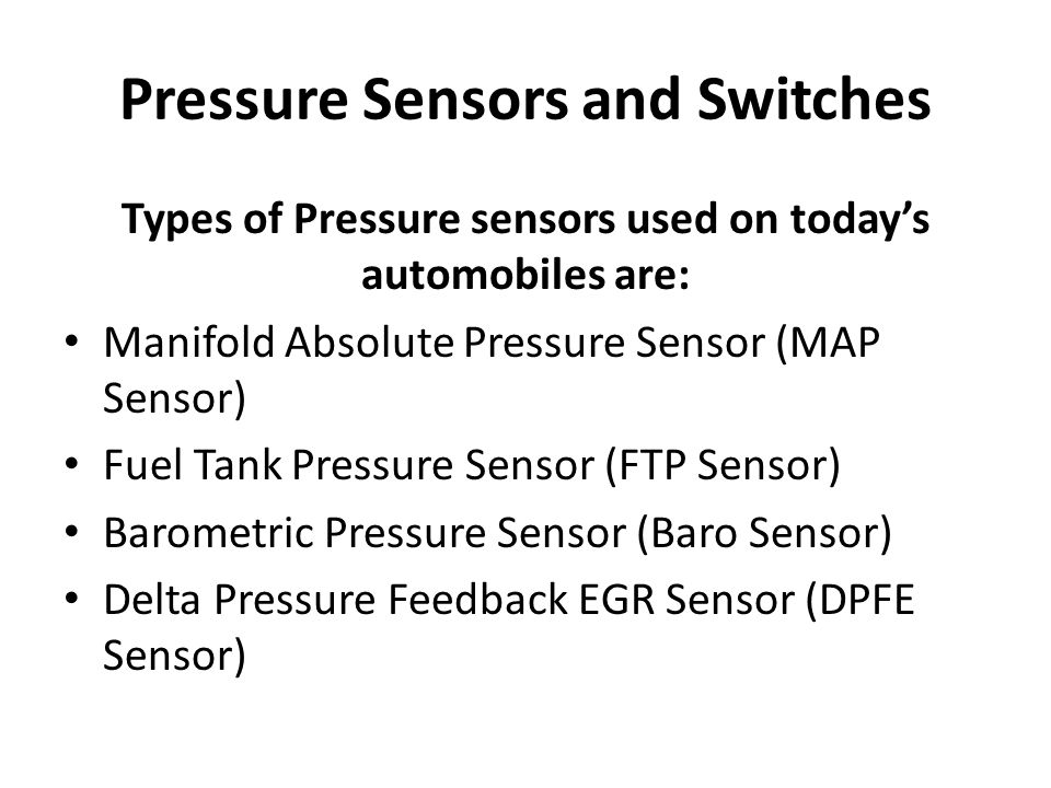 Pressure Sensors and Switches