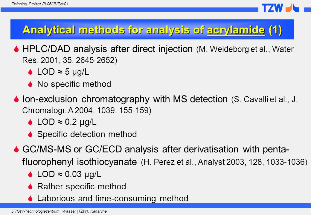 Analytical methods for analysis of acrylamide (1)
