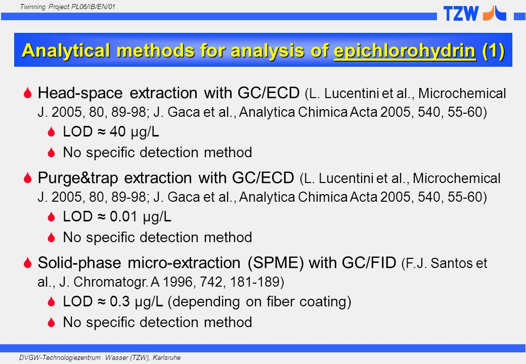 Analytical methods for analysis of epichlorohydrin (1)
