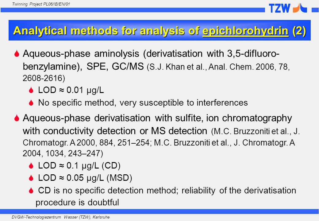 Analytical methods for analysis of epichlorohydrin (2)
