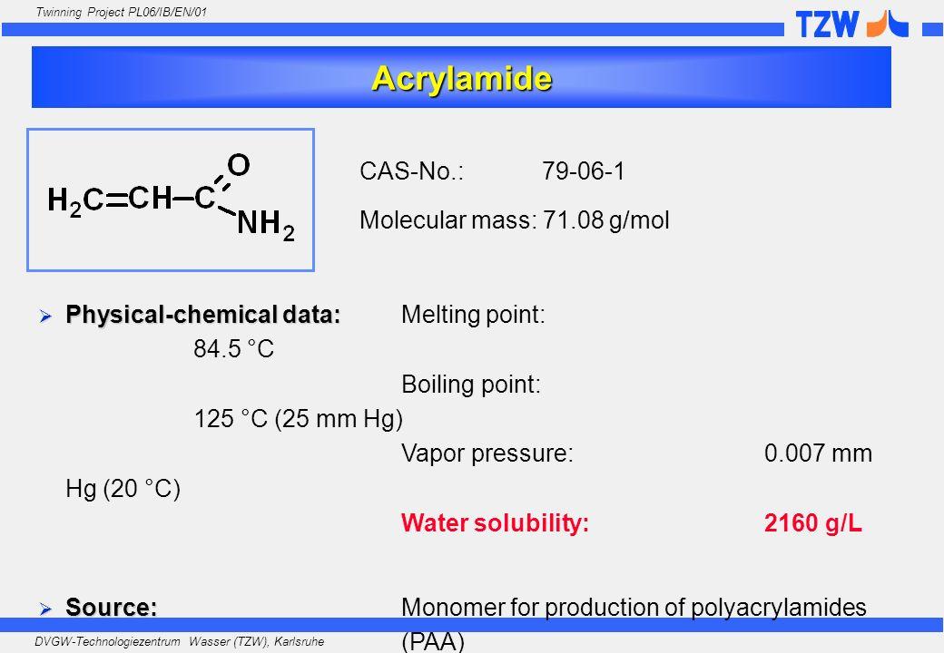 Acrylamide CAS-No.: 79-06-1 Molecular mass: 71.08 g/mol