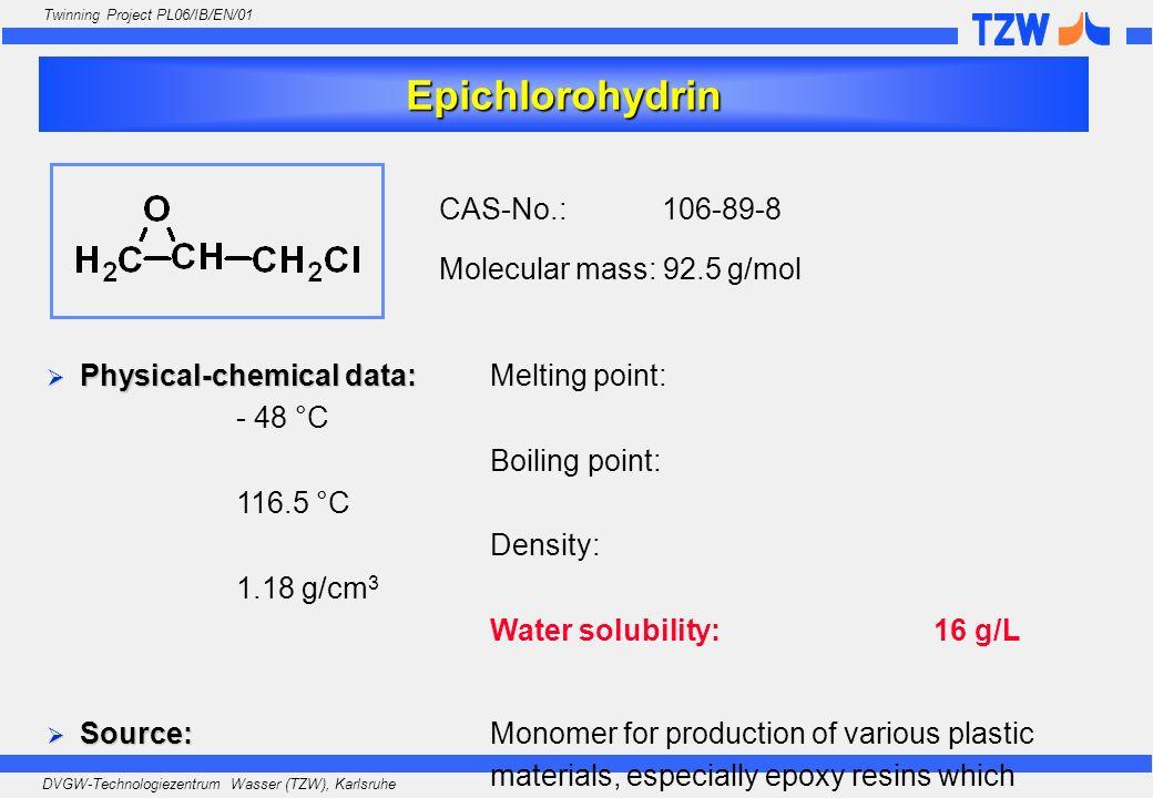 Epichlorohydrin CAS-No.: 106-89-8 Molecular mass: 92.5 g/mol