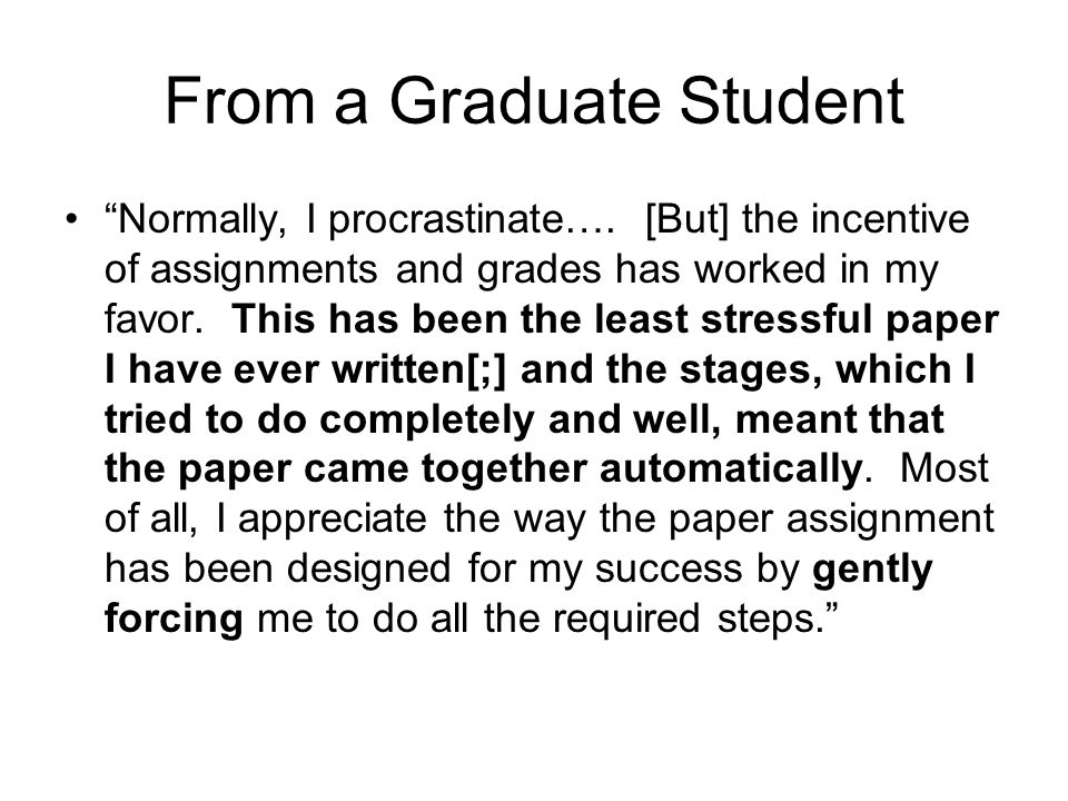 From a Graduate Student