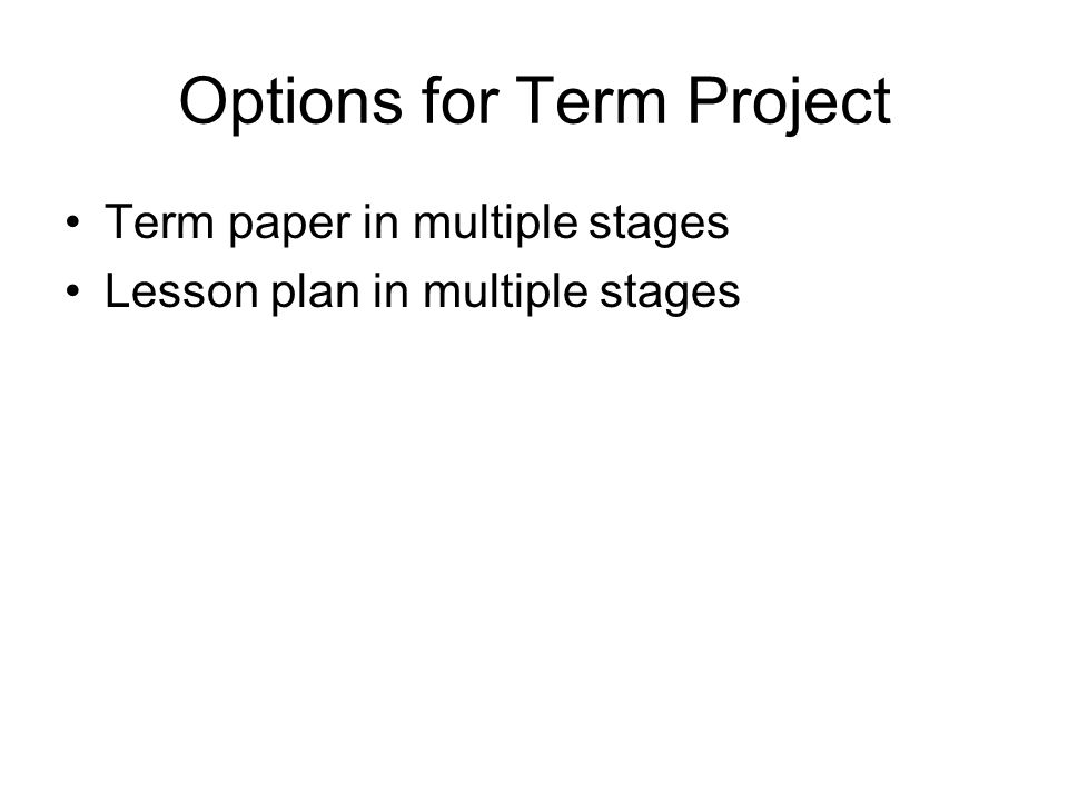 Options for Term Project