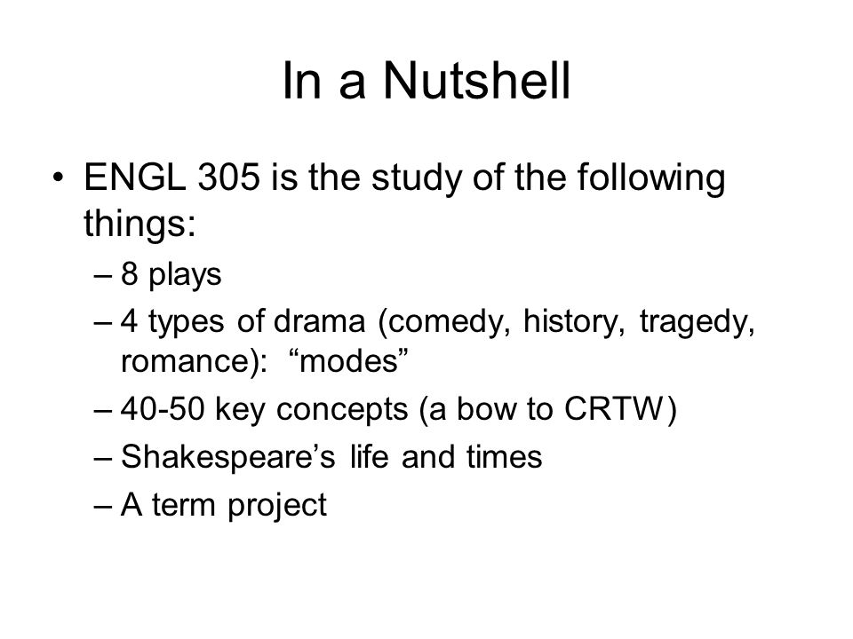 In a Nutshell ENGL 305 is the study of the following things: 8 plays