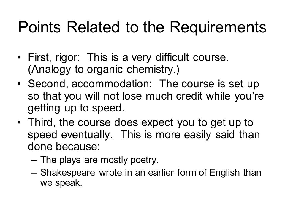 Points Related to the Requirements