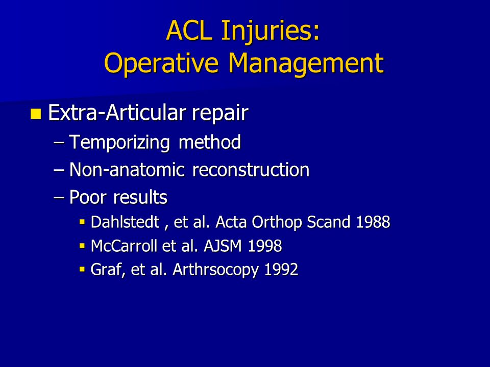 ACL Injuries: Operative Management