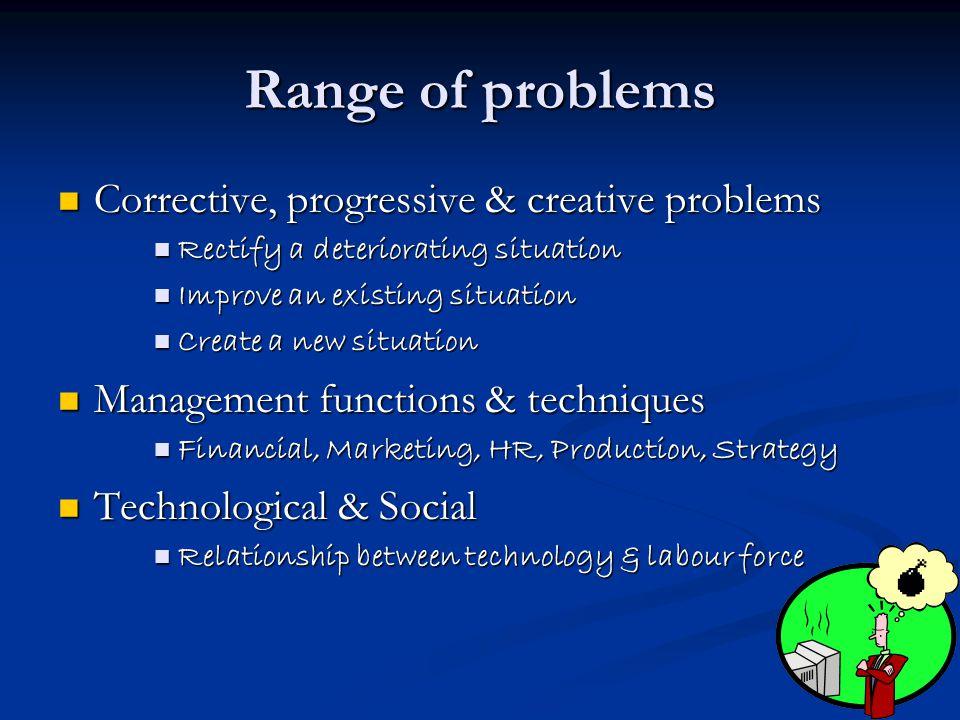 Range of problems Corrective, progressive & creative problems