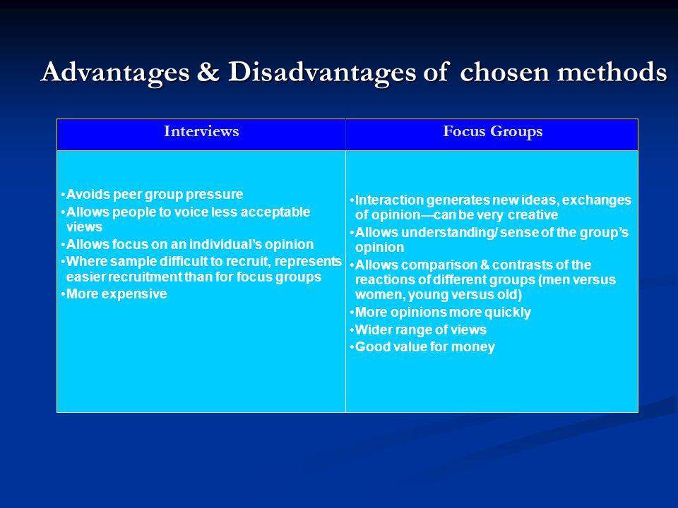 Advantages & Disadvantages of chosen methods
