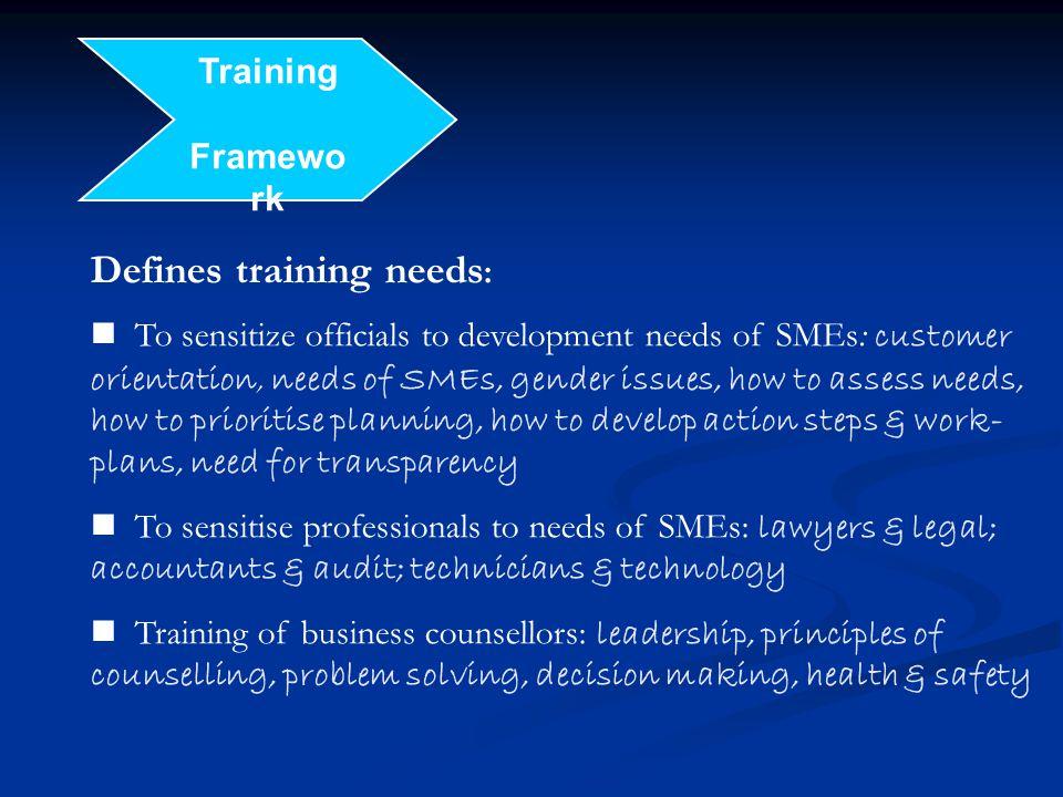 Defines training needs: