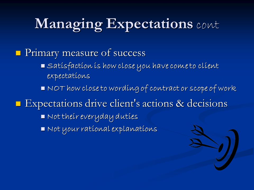Managing Expectations cont
