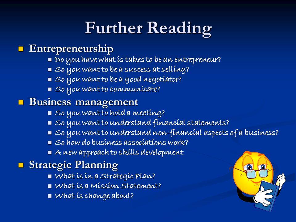 Further Reading Entrepreneurship Business management