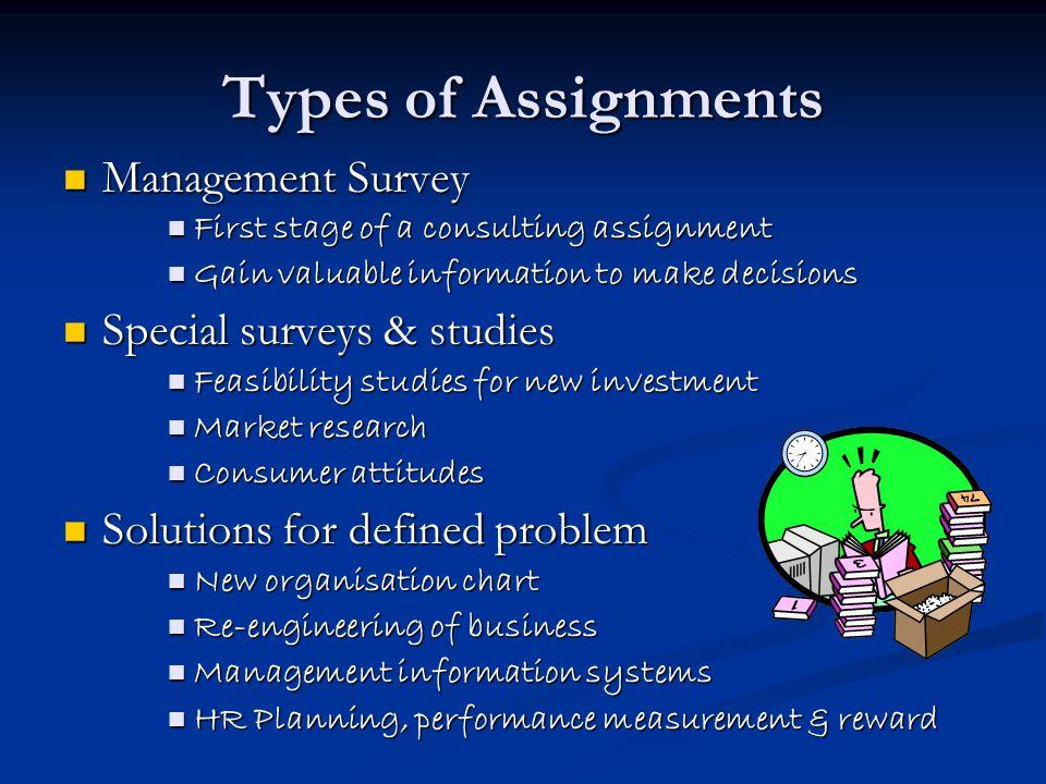 Types of Assignments Management Survey Special surveys & studies