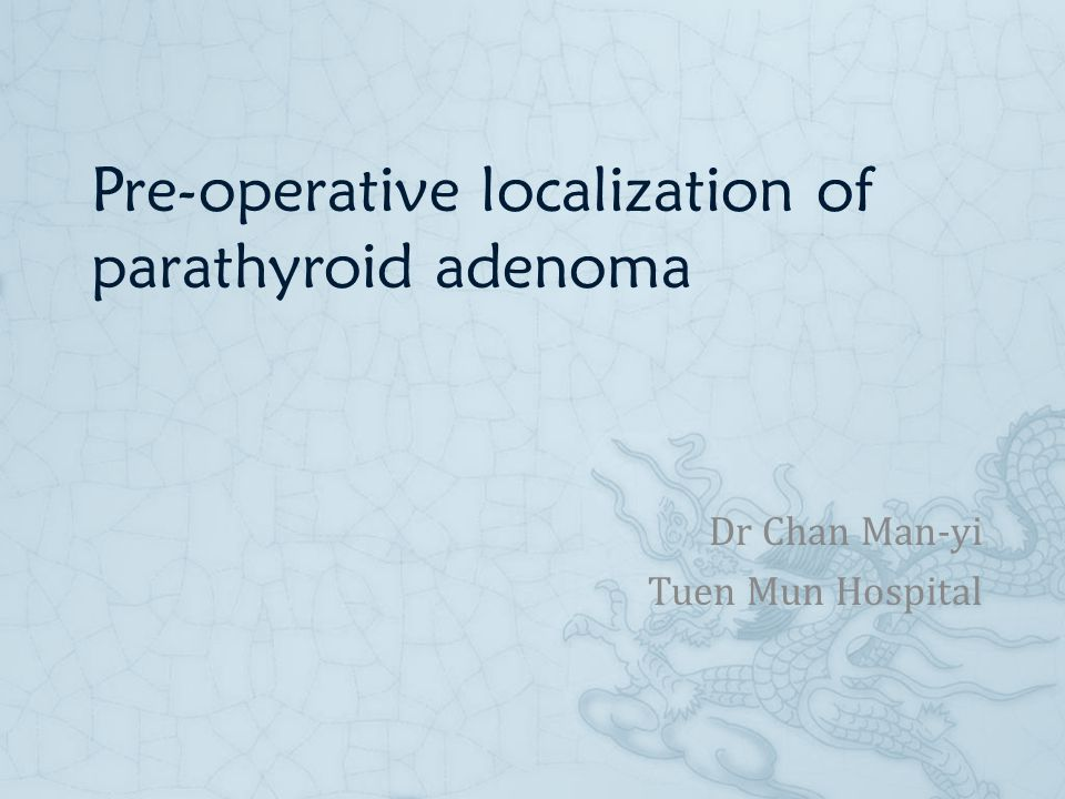 Pre-operative localization of parathyroid adenoma